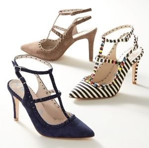 Boden Ashley suede t strap studded heels